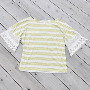 DownEast Like New Striped Crochet Lace Top…